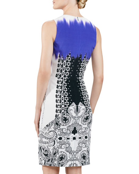 Sleeveless Mixed-Print Dress, Purple/Black/White