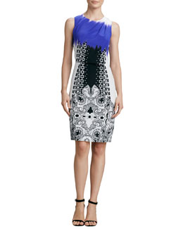 Etro Sleeveless Mixed-Print Dress, Purple/Black/White