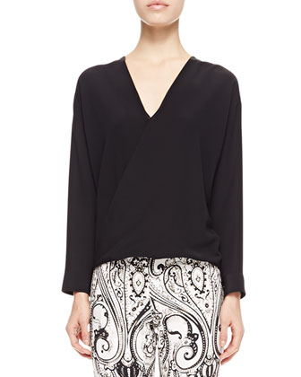 Faux-Wrap Silk Blouse, Black