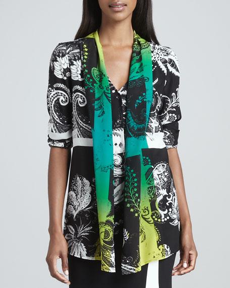 Shawl-Detailed Tunic, Black/White/Green