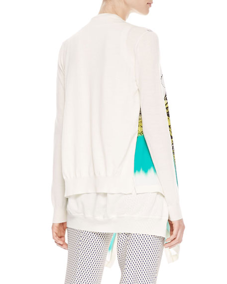 Printed Cascade Cardigan, White/Green