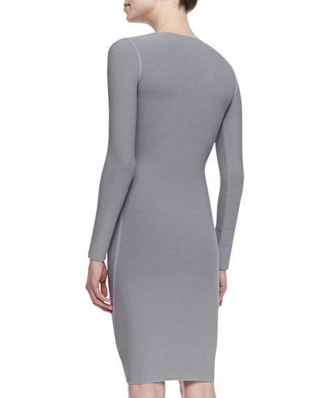 Long-Sleeve V-Neck Sheath Dress, Gray