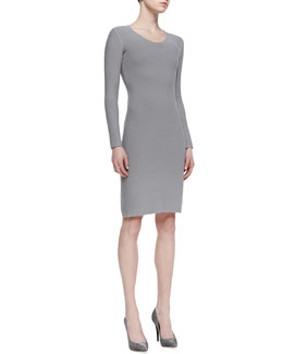 Giorgio Armani Long-Sleeve V-Neck Sheath Dress, Gray