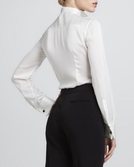 Contrast-Button Silk Tuxedo Blouse, Ivory