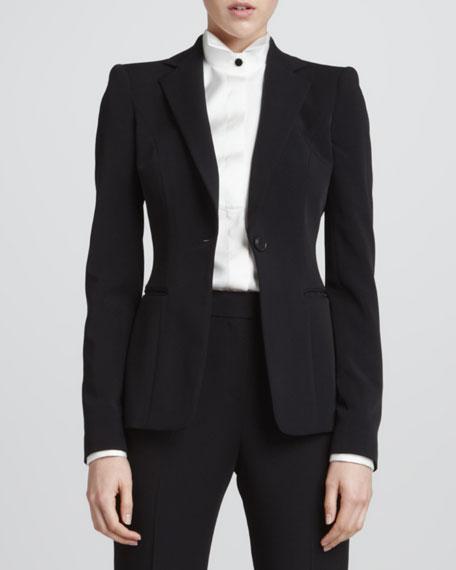 One-Button Slip-Pocket Jacket, Black