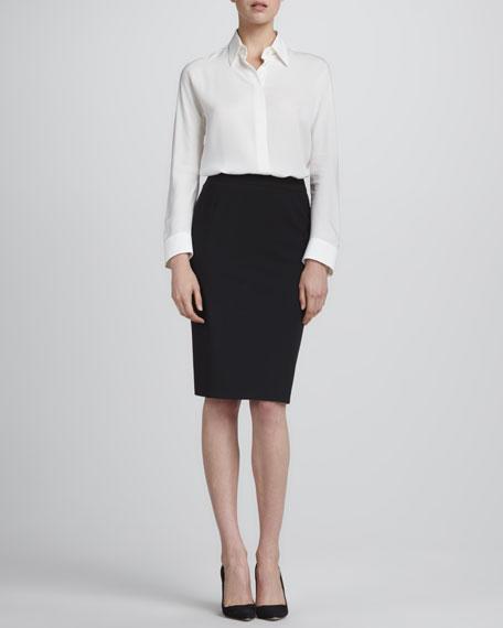 Straight Wool Skirt, Black