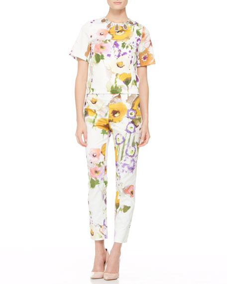Slim Floral Ankle Pants