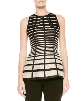 Lela Rose Striped Seamed Blouse