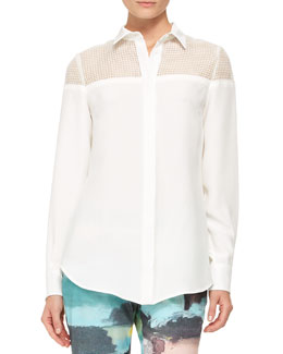 Lela Rose Grid-Yoked Silk Blouse