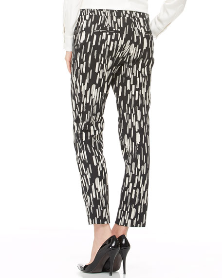 Caroline Printed Ankle Pants, Black/Ivory