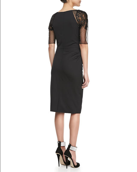 Crosshatch-Embroidered Dress, Black