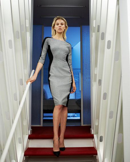 Long-Sleeve Side-Panel Dress