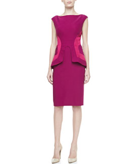 Lela Rose Side-Seamed Peplum Sheath, Fuchsia