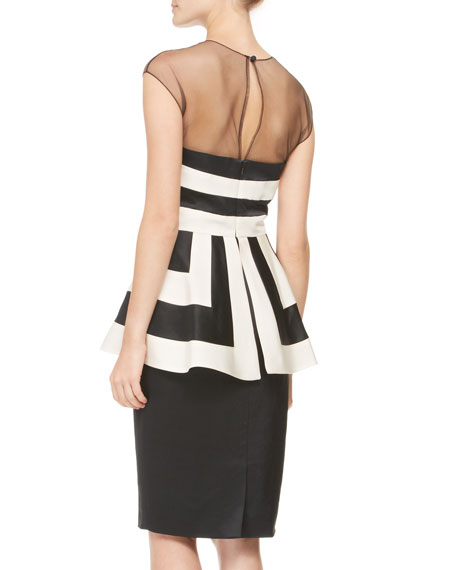 Striped Illusion-Neck Peplum Dress