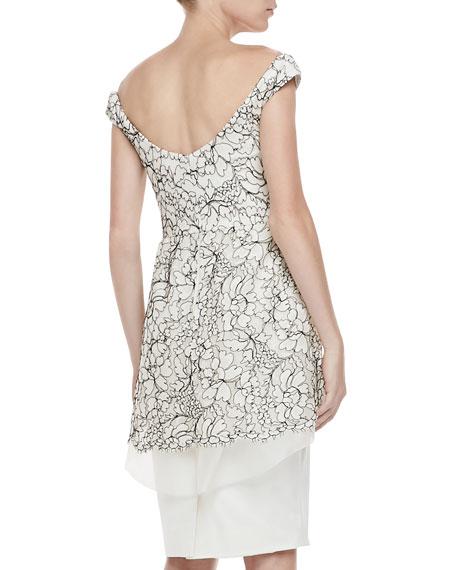 Embroidered Off-Shoulder Tiered Dress