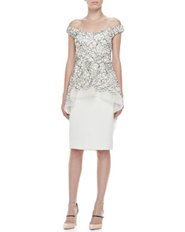 Lela Rose Embroidered Off-Shoulder Tiered Dress