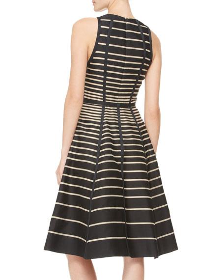 Seamed Striped Halter Dress