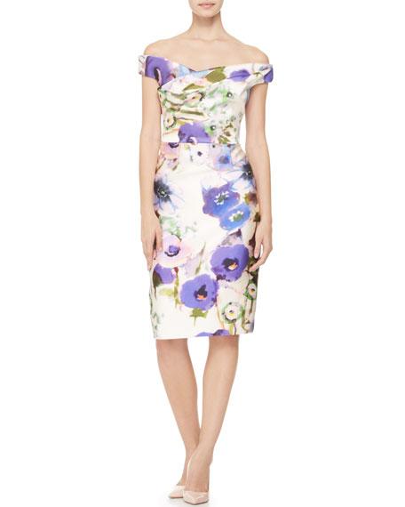 Draped Off-Shoulder Floral Dress