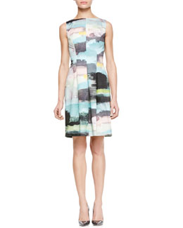 Lela Rose Bateau Tucked-Waist Dress
