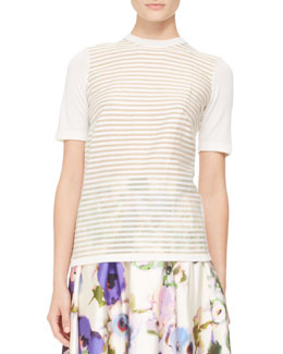 Lela Rose Short-Sleeve Stripe-Front Top