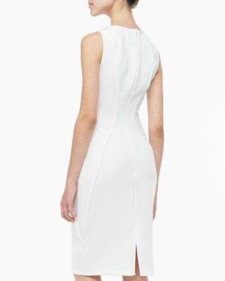 Sleeveless Boat-Neck Sheath Dress, Ivory