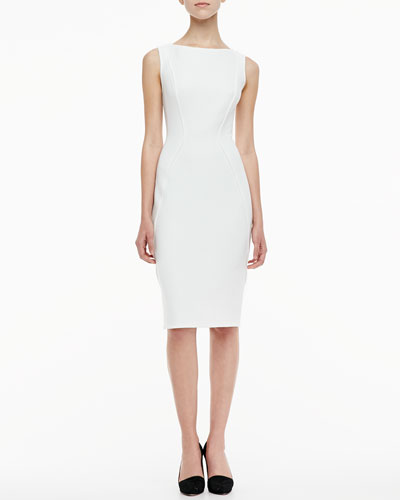 Sleeveless Boat-Neck Sheath Dress, Ivory