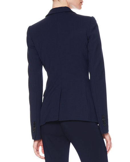 One-Button Stretch Suiting Jacket, Dark Navy