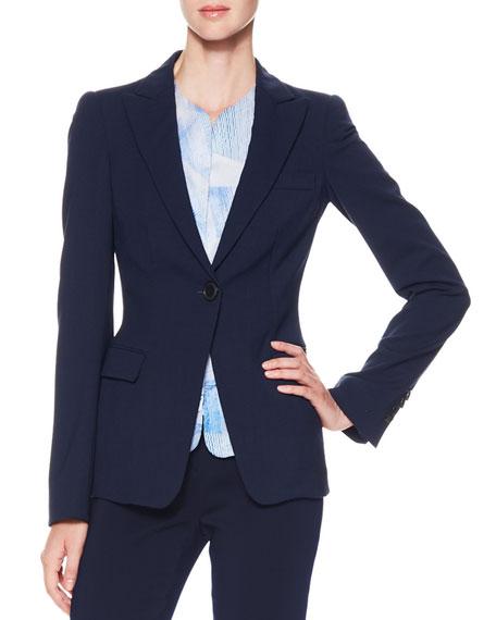 One-Button Stretch Suiting Jacket, Dark Navy
