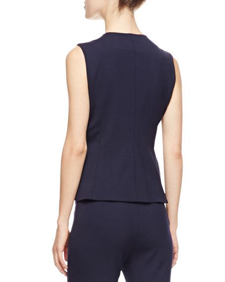 Sleeveless Short Gilet Vest, Blue/Multi