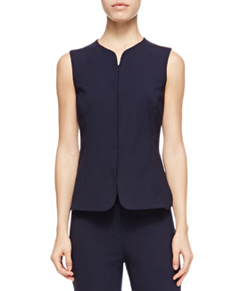Armani Collezioni Sleeveless Short Gilet Vest, Blue/Multi