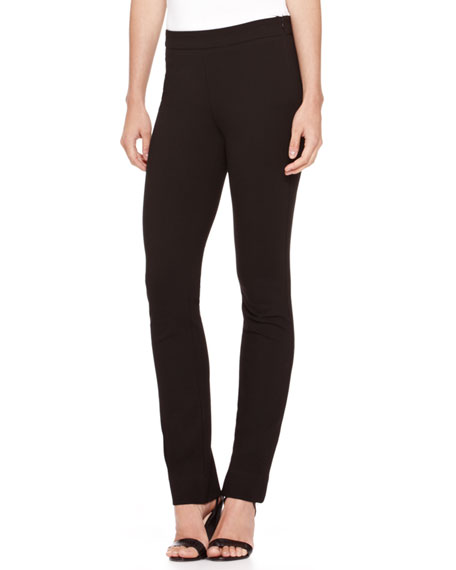 Full-Length Side-Zip Pants, Black