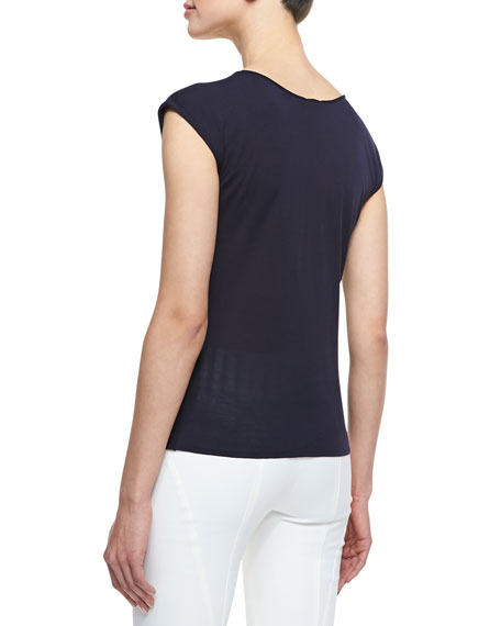 Sleeveless Round-Neck Textured Knit Top, Navy