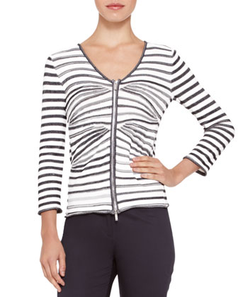 Mix-Stripe V-Neck Zip Cardigan