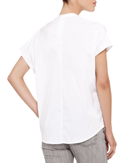 Short-Sleeve Stretch Cotton Blouse, White