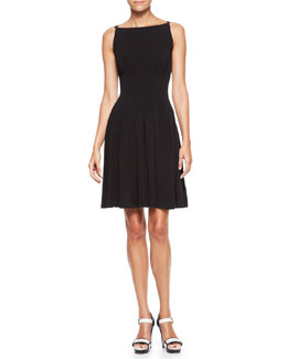 Armani Collezioni Boat-Neck Pleated Dress, Black