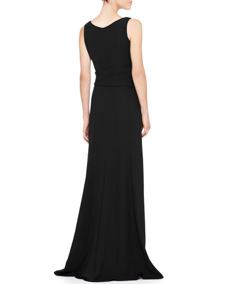 Gathered Sleeveless Cady Gown