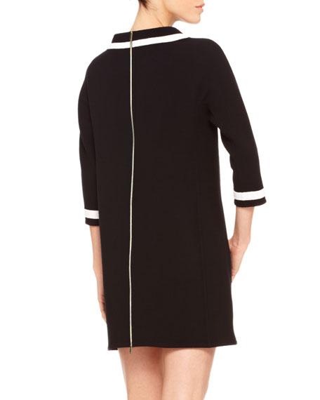 Contrast-Trim Crepe Dress