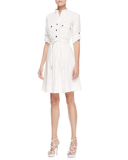 Armani Collezioni Belted Shirtdress, Off White