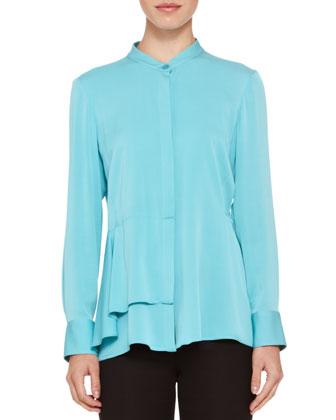 Side-Ruffle Stretch-Silk Blouse