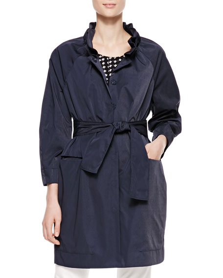 Long Belted Tech Fabric Coat, Navy