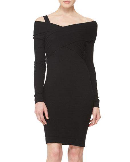 Long-Sleeve Twist-Front Dress
