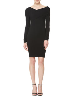 Donna Karan Long-Sleeve Twist-Front Dress