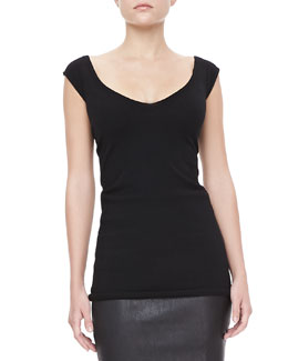 Donna Karan Cap-Sleeve Cashmere-Blend Tunic Top