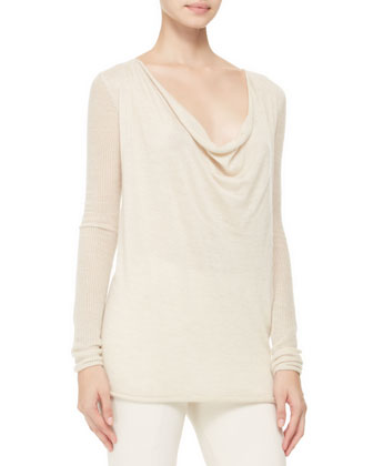 Cashmere Cowl-Neck Top