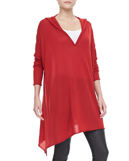 Donna Karan Hooded Cashmere Drape Tunic
