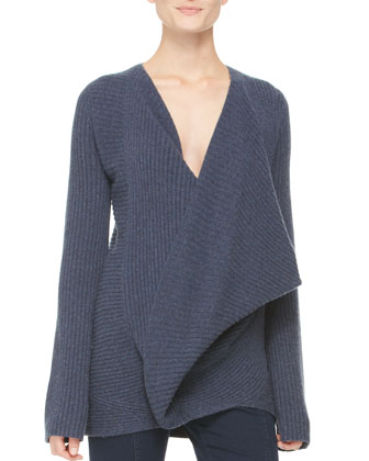 Ribbed Cross-Front Sweater