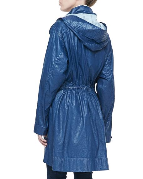 Coated Long Anorak Jacket with Hood