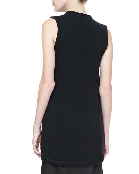Asymmetric Cowl-Neck Wool-Cashmere Top
