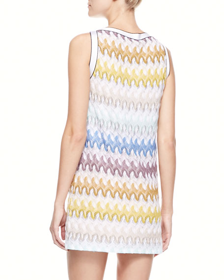 Above-Knee Zigzag-Knit Dress, Yellow/Aqua/White