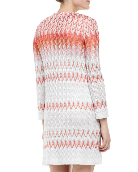 Knit Cardigan & Dress Set, Coral/White